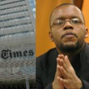 The New York Times building and Jayson Blair.