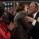 Mayor Michael Bloomberg, right, greets Council Speaker Christine Quinn after delivering his State of the City address on Jan. 12, 2012. In recent months, the speaker and 2013 mayoral candidate has opposed several of the mayor's policies. AP/Mary Altaffer.