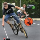 Bike polo, also known as cycle polo, has grown in popularity since 2007. Bike polo is very similar to traditional polo, but some rules have been adapted for the hardcourt sport. Photo courtesy of Flickr/John W. MacDonald.