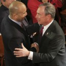 New York City Mayor Michael Bloomberg, right, greets Ruben Diaz Jr. as he arrives to deliver his State of the City address, Thursday, Jan. 12, 2012 at the Morris High School Campus in the Bronx borough of New York. (AP Photo/Mary Altaffer)