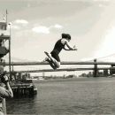 Solomon dives into the East River, shackled, in preparation for an escape. According to Solomon, figuring out how to connect with an audience is the key to staying relevant. Photo courtesy of Thomas Solomon.