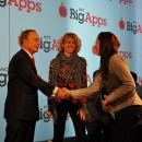 Mayor Bloomberg congratulates winners of the first BigApps competition. Sponsored by the NYC Economic Development Corporation, BigApps awards funds to tech companies that develop web or mobile applications using city data. Flickr/ Steven Rosenbaum