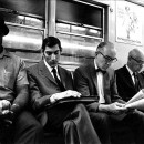 "Artist Bernard Safran shot this photo, ""Subway Riders,"" in the '60s, which shows a group of New Yorkers headed to work. Looking at a diverse array of data, MetroFocus looked at the kinds of jobs New York City is really creating. Photo by Bernard Safran."