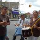 Drummers added an element of festivity and comraderie at the paid sick rally in Elmhurst, Queens. MetroFocus/ Georgia Kral