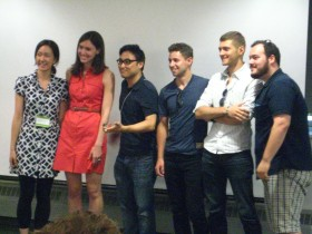 "GreenCan app team, winner of ""Best App for Recycling"" with Rachel Sterne (second from left).."