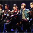 "The original off-Broadway cast of ""Altar Boyz"" which premiered at New World Stages in 2005 after a 2004 debut at NYMF. Pictured (l-r): Scott Porter, David Josefsberg, Andy Karl, Tyler Maynard and Ryan Duncan. Photo by Carol Rosegg"