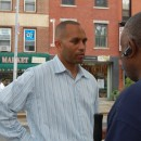 Assemblyman Hakeem Jeffries speaks with a Prospect Heights resident on Bergen Street at one of his summer Subway Office Hours events. MetroFocus/ Georgia Kral