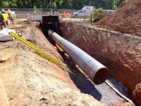 Pipeline installed across Range Road in Linden, N.J. Image from the Federal Energy Regulatory Commission Environmental Compliance Monitoring Program weekly report, Sept. 12-16, 2012.