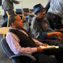 Wynton Marsalis (left) and Garth Fagan (right) in the rehearsal studio. Photo courtesy Garth Fagan Dance.