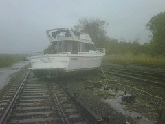 Boat on Metro-North tracks in Ossining, NY