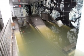 Hurricane Sandy, Food, Escalator under Water at South Ferry