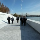 Mayor Michael Bloomberg and others walk the perimeter of the Four Freedoms Park on Roosevelt Island on Wednesday, Oct. 17. The park opens to the public on Oct. 24. Flickr/ nycmayorsoffice