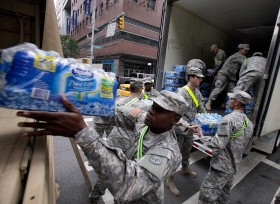 hurricane sandy, national guard, emergency water distribution