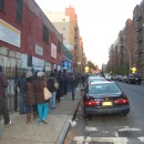 The line was long at 5 p.m. at the PS 92 poll site.
