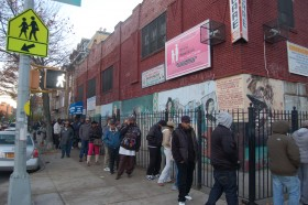 The line was long at 5 p.m. at the PS 92 poll site. Photo courtesy Marc Joseph Rosenblatt.