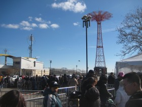 Coney Island residents at the temporary location of the FEMA Disaster Assistance Service Center at Surf Avenue