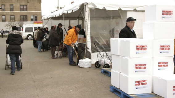 Long Lines for Coney Island's Most Popular Attraction: Food Aid
