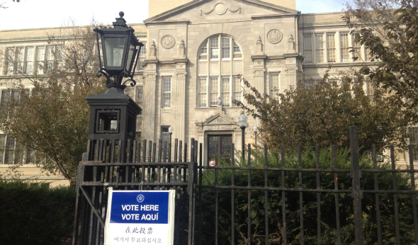 Abraham Lincoln High School in Coney Island, Brooklyn, served as an election poll station