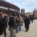 The line of people waiting to take the bus from the Barclays Center in Brooklyn to midtown Manhattan wrapped all the way around the new arena. MetroFocus/ Georgia Kral