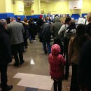At PS 29 in Cobble Hill, Brooklyn, on Tuesday morning the wait to vote exceeded two hours. Photo by Andy Hawkins.