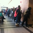 In Stony Brook on Long Island, a line of about 100 students wait to cast their vote in the auditorium at Stony Brook University. Many commuter students chose to vote here to save gas, therefore giving up their say in local elections. MetroFocus/Philly Bubaris