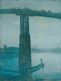 James McNeill Whistler, Nocture: Blue and Gold - Old Battersea Bridge, ca >>> 1872-75. Oil on canvas, 68.3 x 51.2 cm. Courtesy Tate, London.