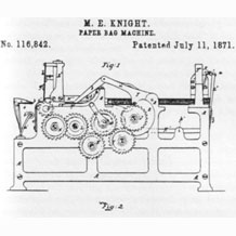 Margaret Knight's paper bag folding machine patent
