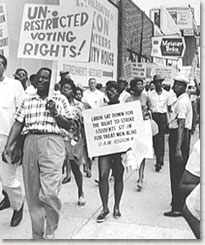 Photo of African Americans marching for equal voting rights.