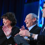 """Viewer question:<br>""""Since Mel Brooks seems to be such a private person, how did you convince him to go along with this documentary?"""" <br><br> Robert Trachtenberg:<br> """"I didn't! Susan Lacy, executive producer of the series, had secured him before I came on board."""" <br><br>Pictured: Susan Lacy, Mel Brooks and filmmaker Robert Trachtenberg at the 2013 Television Critics Association Winter Press Tour in Pasadena, CA. Photo credit: Rahoul Ghose/PBS."""