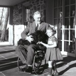 Franklin D. Roosevelt with Ruthie Bie (granddaughter of Hyde Park caretaker of the Hyde Park caretaker) and his dog Fala circa 1941. Photo Credit: Franklin D. Roosevelt Presidential Library and Museum.
