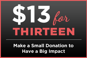 $13 for THIRTEEN - Make a Small Donation to Have a Big Impact