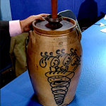 This butter churn originated in Havana, New York. It's rare to find a piece of stoneware with such elaborate, free-form cobalt decoration, and on top of that it's volume is quite large - six gallons. Value: $3,000